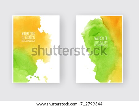 Watercolor green yellow color autumn design banners set. Vector illustration