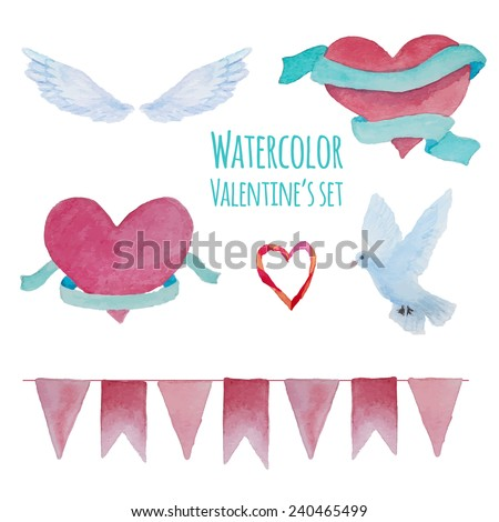 Watercolor hand drawn Valentine's day set Isolated romantic objects hearts with ribbons wings dove and pink party garland