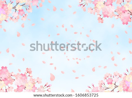 Watercolor hand painted wind cherry blossom and sky background illustration Сток-фото ©