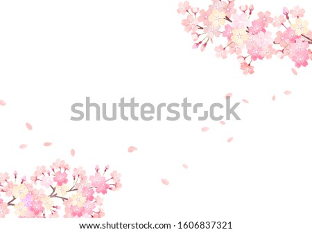 Watercolor hand painted wind cherry blossom background illustration 03 ストックフォト ©
