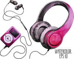 Watercolor headphones and mp3 player