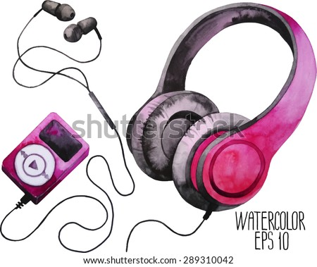 watercolor headphones and mp3