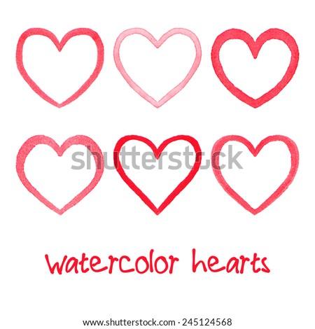 watercolor hearts set hand
