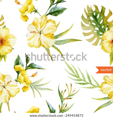 watercolor  hibiscus  yellow