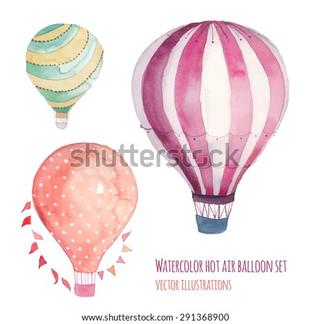 Watercolor hot air balloon set. Hand drawn vintage air balloons with flags garlands, polka dot pattern and retro design. Vector illustrations isolated on white background