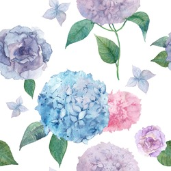 Watercolor hydrangea and lisianthus pattern. Vector hand drawn seamless texture with various flowers and leaves on white background. Botany repeating wallpaper