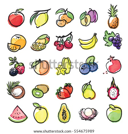 watercolor icons of fruits vector set