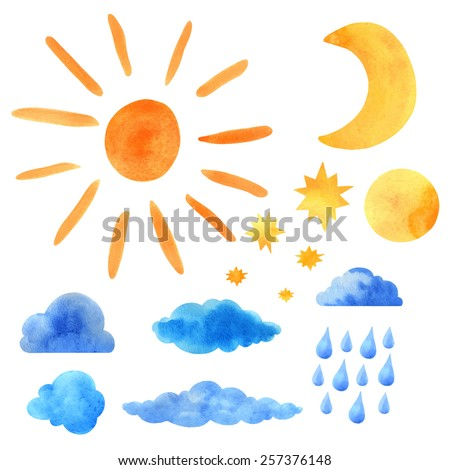 watercolor icons set sun