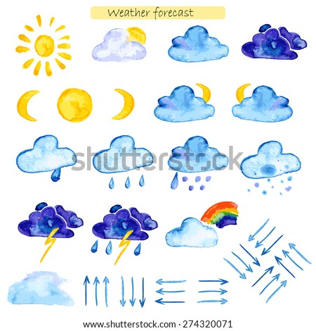 watercolor icons weather