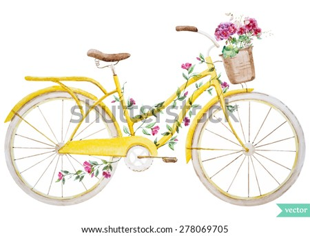 watercolor illustration of a yellow bicycle with flowers hydrangea