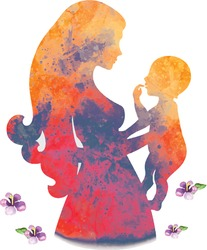 watercolor illustration of mother with baby