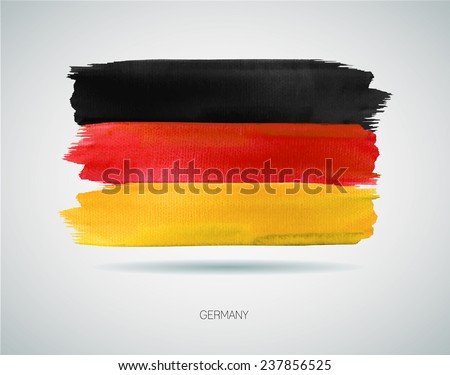 Watercolor illustration of the flag of Germany. Vector