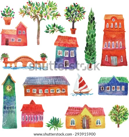 Watercolor illustration set of cartoon houses, trees, bridge and boat