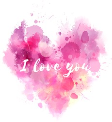Watercolor imitation Valentine's day heart with text message