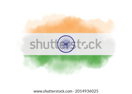 Watercolor India flag background. Vector.