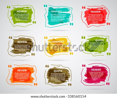 Watercolor, ink, splash Quote blank templates. Text box bubbles. Abstract business card, note, information, text. Print multicolor design. For Website. Vector set.