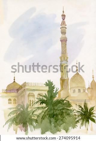 watercolor islamic mosque
