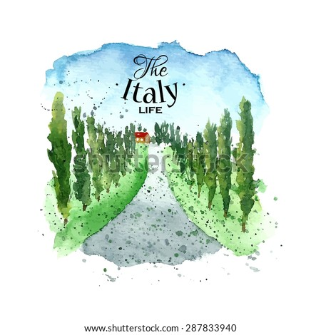 watercolor italy tuscany hand