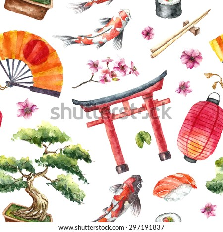 watercolor japan pattern