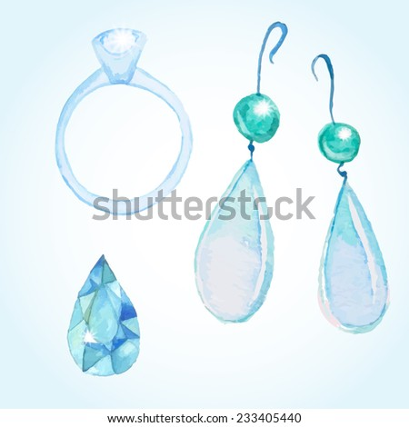 watercolor jewelry set  diamond