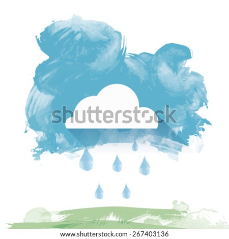Watercolor Landscape with rain in vector illustration