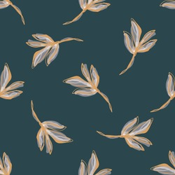 Watercolor Leaf Stem Vector Seamless Pattern. Leaves Blowing in the Wind Hand Painted White Background. Autumn Fall Mood Wildflower Illustration. Faded Transparent Pale Colors. Repeat Tile in EPS 10