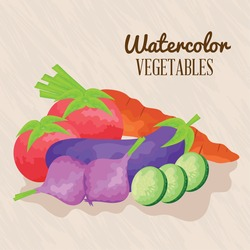 watercolor lettering and fresh vegetables