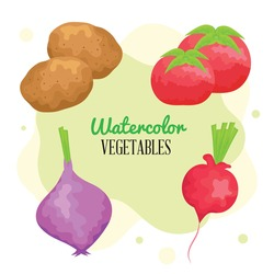 watercolor lettering and vegetables icons
