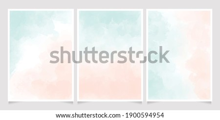 watercolor light green and old rose peach pink splash background for wedding or birthday invitation card 5x7