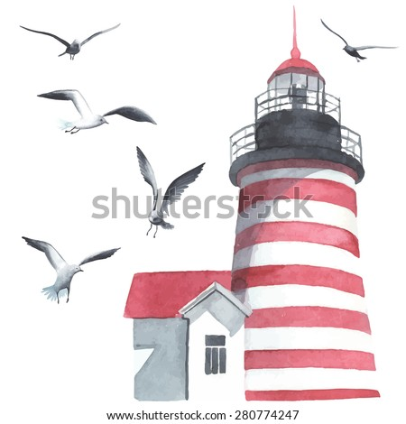 watercolor lighthouse and