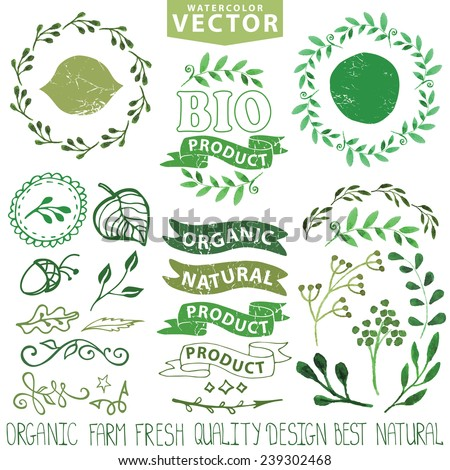 Watercolor logo template set.Badges,labels,green branches,floral elements,wreaths ,leaves,laurels.Organic,bio,eco,natural design,ecology design logotypes.Hand drawing painting texture.Vintage vector