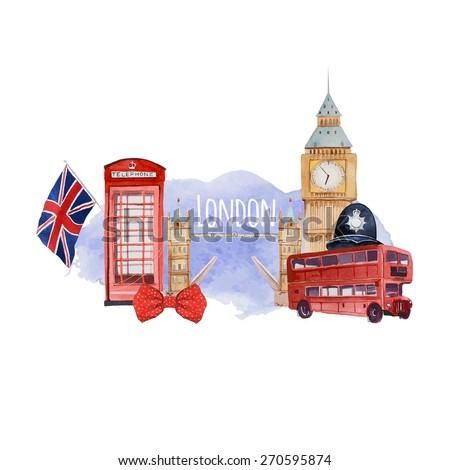 watercolor london banner label