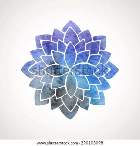 watercolor lotus flower with