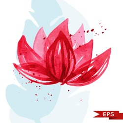 Watercolor lotus illustration isolated on white.
