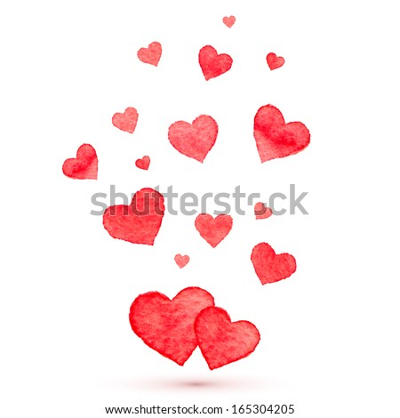 watercolor lovely vector hearts