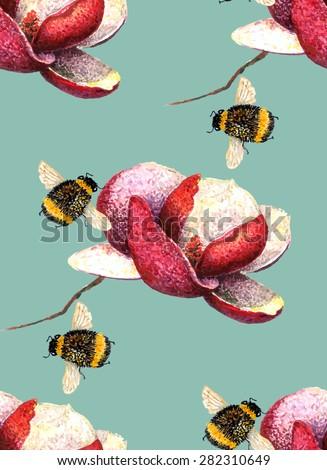 watercolor magnolia   bumblebee