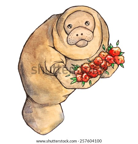 watercolor manatee with flowers