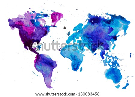 watercolor map of the world isolated on white