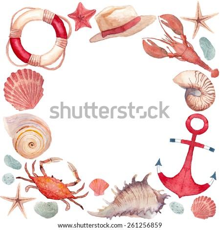 watercolor marine frame round