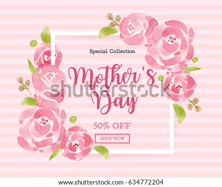 WaterColor Mother's day greeting card with flowers background for for banners,Wallpaper, invitation, posters, brochure, voucher discount. #634772204
