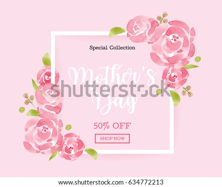 WaterColor Mother's day greeting card with flowers background for for banners,Wallpaper, invitation, posters, brochure, voucher discount. #634772213