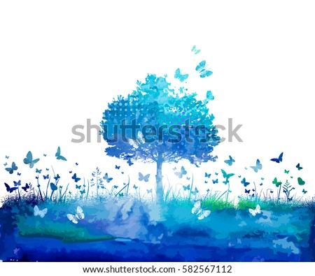 Watercolor Nature tree and butterflies. Vector