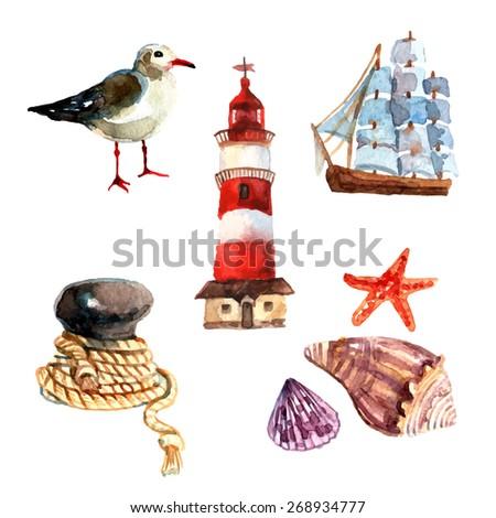 watercolor nautical elements