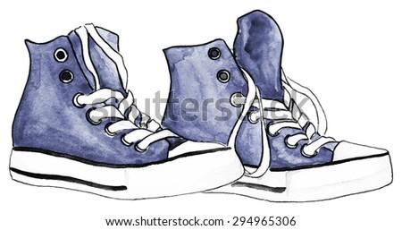 watercolor navy blue gray grey