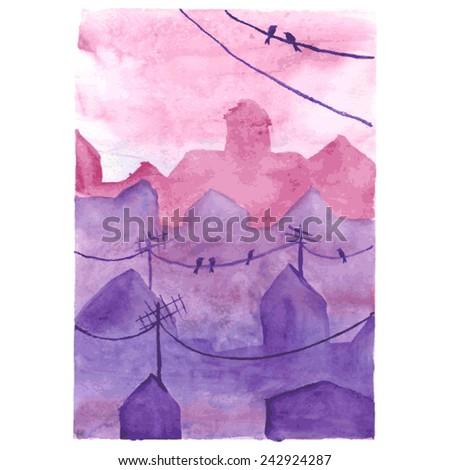 watercolor night town  romantic