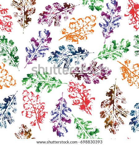 Watercolor oak leaves seamless pattern. Creative illustration
