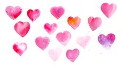 Watercolor of hearts