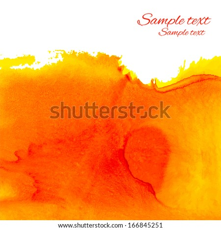 Watercolor orange background with space for text - vector