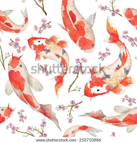 Watercolor oriental pattern with rainbow carps. Seamless oriental texture with isolated hand drawn fishes and blossom cherry. Asian natural background in vector
