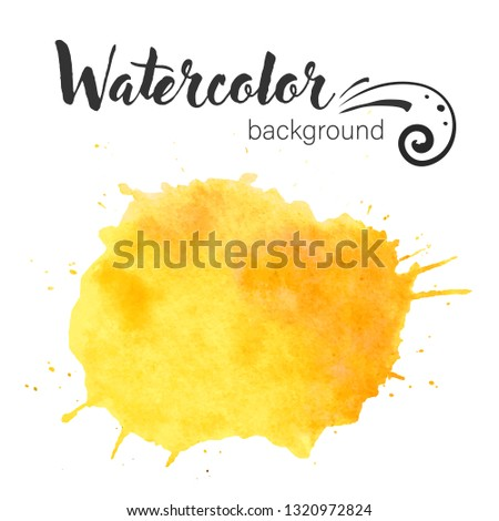 Watercolor paint blob vector. Watercolor paint blob vector text box isolated for design, advertise, label. Yellow paint blob for web, sale, banner, text box. Vector text box on watercolor paint blob.